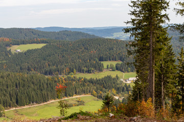 Scenic view at landscape nearby Feldberg, Black Forest in autumn with multi colored trees