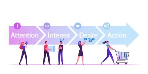 AIDA Model with 4 Stages of Sales Funnel in Attention, Interest, Desire and Action. Foundation Principles in Marketing and Advertising. Business Word with Team People Cartoon Flat Vector Illustration