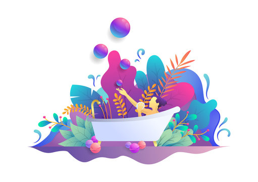 illustration of bathing in a bathtub, beautiful gradient with a floral theme, web, landing page design