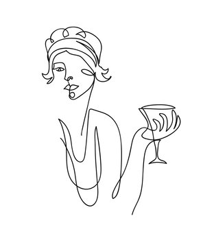 Flapper girl from 20s black and white vector illustration. Woman with cocktail, wineglass, Martini.  One continuous line drawing of flapper girl portrait.