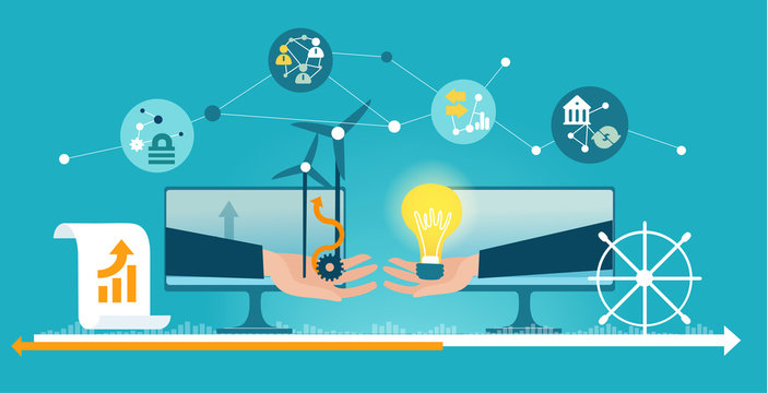 Business people making a deal via internet. Contracting power energy supplies, eco friendly idea. Business connections, international, word wide communication, working together concept.