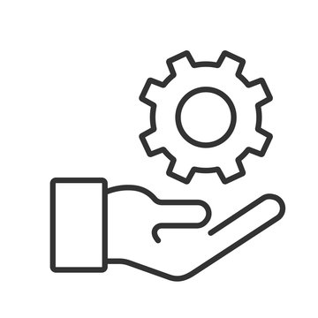 Line icon hand and gear vector