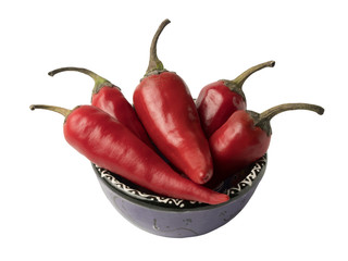 Canvas Prints Hot chili peppers Isolated object: red hot chili pepper lying in a decorative cup