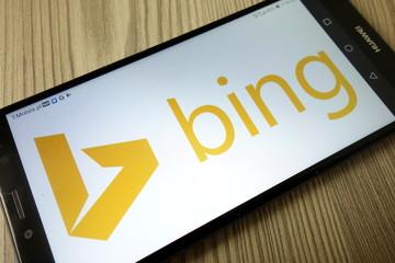 KONSKIE, POLAND - December 21, 2019: Bing web search engine logo on mobile phone
