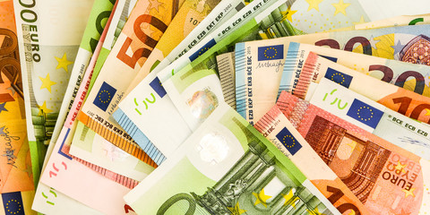 pile of paper euro banknotes as part of the united country's payment system, Euro European currency - money