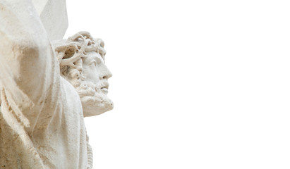 Fototapete - An ancient statue of the crucifixion of Jesus Christ isolated on white background.