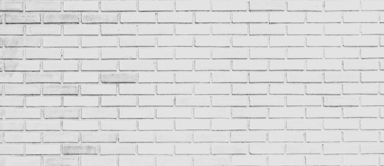 panorama of white brick wall background and texture