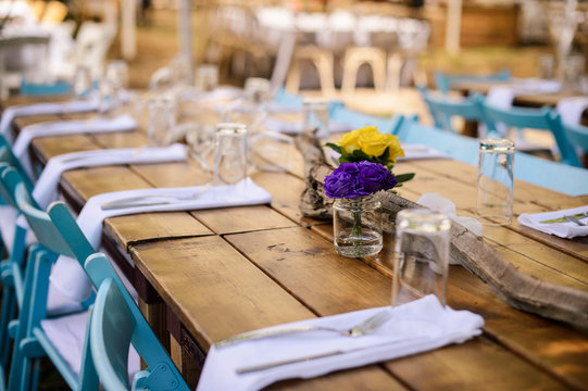 Rustic wedding decor, wedding table setting with flowers