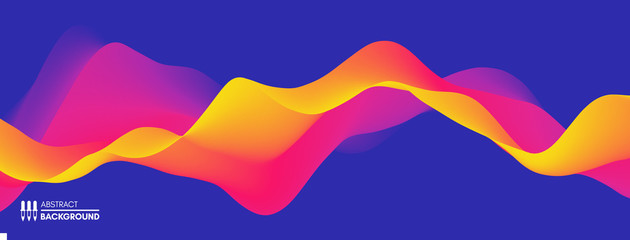 Wall Mural - Abstract wavy background with modern gradient colors. Trendy liquid design. Motion sound wave. Vector illustration for banners, flyers and presentation.