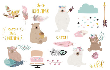 Bohemian animal object set with bear,dreamcatcher,feather,arrow,cloud. illustration for logo,sticker,postcard,birthday invitation.Editable element