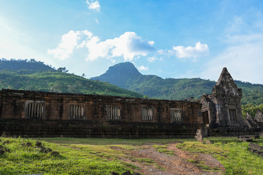 Vat Phou (Wat Phu) temple The ruined Khmer temple complex  is the UNESCO world heritage site in southern Laos