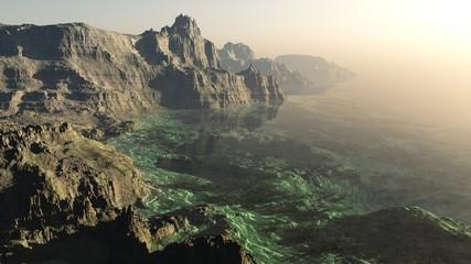 Photo sur Aluminium Beige Earth of the beginning of time, primeval seashore, rocky lagoon, 3D rendering