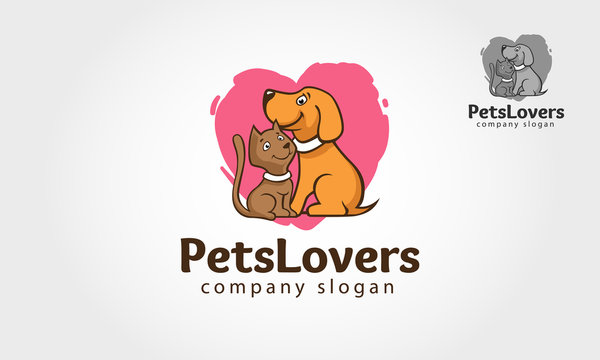 Pets Lover Logo Template.  A cute, stylish with love symbol. This logo template for your pets related business or project.