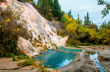 Bagni San Filippo is a thermal hot spring with healing water, Province of Siena, Italy. Thermal Baths.