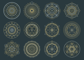 Papiers peints Style Boho Vector set of sacred geometric figures, dreamcatcher and mystic symbols, alchemical and spiritual signs