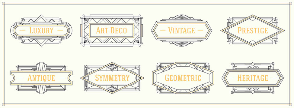Art deco style line border and frames, decorative geometric ornament set label vintage vector design graphic elements