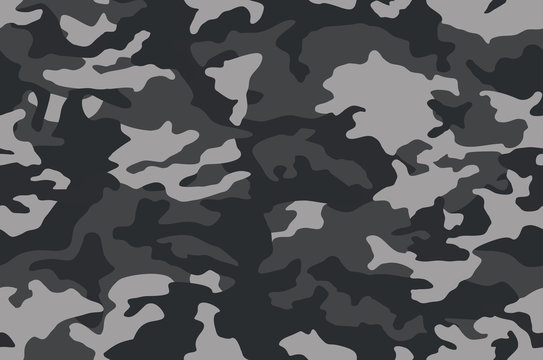 Camouflage pattern background. Classic clothing style masking camo repeat print. Black grey white colors  texture. Vector