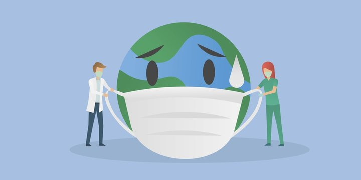 The world is sick and sad concept.Doctors and nurses are taking care of the world by wearing masks,Control of epidemics and viruses.vector illustration