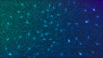 Abstract futuristic circuit board. High computer technology blue color background. Hi-tech digital technology concept. Vector illustration Wall mural