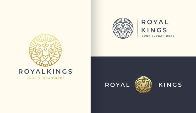 gold line art lion logo design