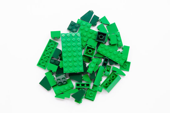 Top view of Pile of Green Bricks Blocks isolated on white background