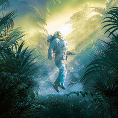 Ray of sunshine / 3D illustration of surreal science fiction scene showing astronaut levitating in lush tropical alien jungle