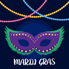 Mardi gras mask with necklaces vector design