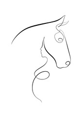 Foto auf Gartenposter One Line Art Printable Horse and Woman Figure, Baby and Mother, Pregnant Woman Figure, Minimal Decor, Digital Line Art, Wall Art, Abstract Art.