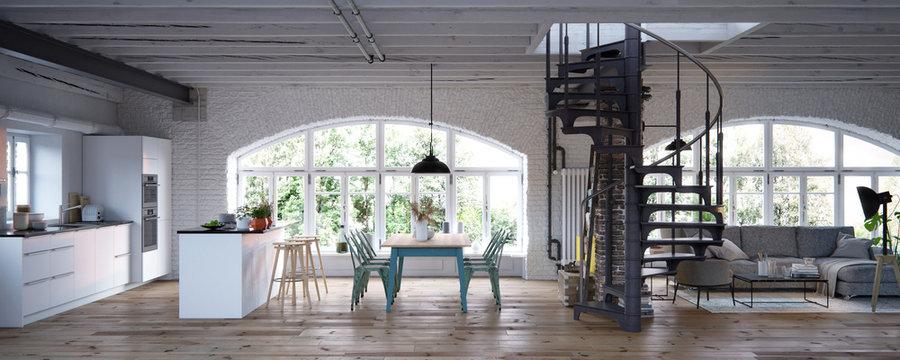 luxury vintage industrial loft apartment interior