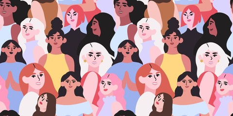 Vector illustration of diverse beautiful strong women that are fighting for equality and rights. International women day seampless pattern for wrapping, textile, fabric, wallpaper and other decor.