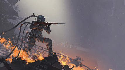 Zelfklevend Fotobehang Grandfailure the futuristic soldier aiming his gun at the enemy against the battlefield background, digital art style, illustration painting