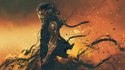 Zelfklevend Fotobehang Grandfailure sci-fi character of an infected astronaut standing on fire, digital art style, illustration painting