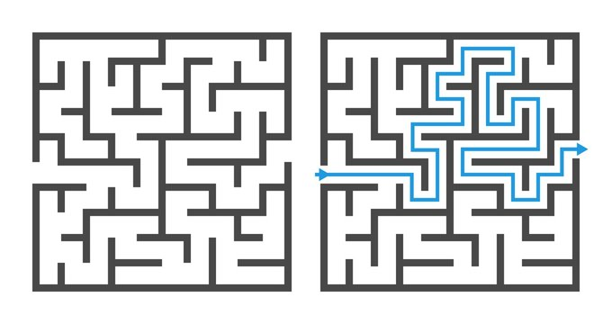 Maze game. Logic game labyrinth, square shapes brainteaser and solution, childrens puzzle exercise with entry and exit vector elements