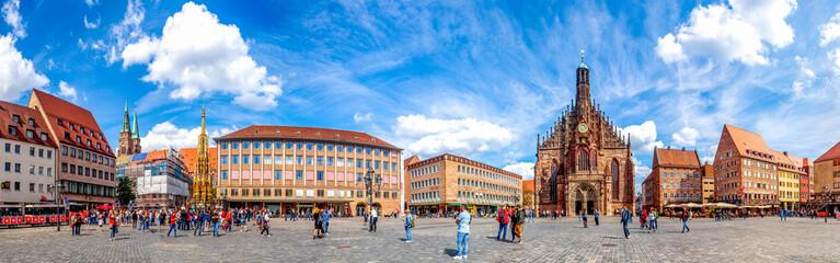 Panorama, Hauptmarkt, Nürnberg, Deutschland  Fotobehang