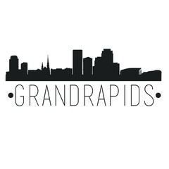 Grand Rapids Michigan Skyline. Silhouette City Design Vector Famous Monuments.