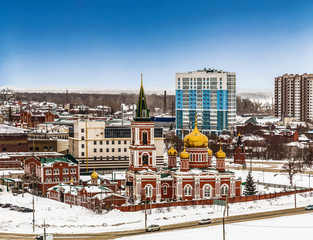 Top view of winter Barnaul, the capital of the Altai territory. Russia