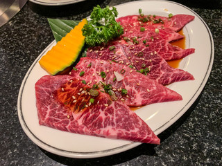 Premium A5 Japanese wagyu beef  for barbecue or yakinuku.
