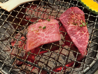 Premium A5 Japanese wagyu beef  for barbecue or yakinuku on charcoal grill