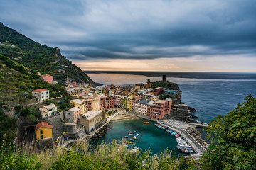 Beautiful cityscape of colorful Vernazza village in Cinque Terre, Italy.