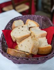 Fresh baked bread in the basket for breakfast