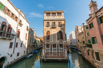 Beautiful Venice canal view with venetian building, Venice, Italy.