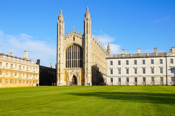 Cambridge, England, December 2015: The University of Cambridge, the Back Lawn with King's College Chapel