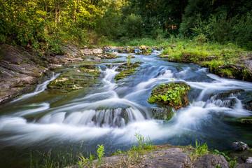 Fototapeta Mountain forest stream in motion blur obraz