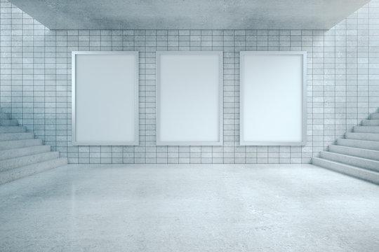 Underground passage and three blank billboard