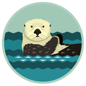 Sea Otter floating in the water Wild animals Cartoon Round frame Vector illustration Geometric style