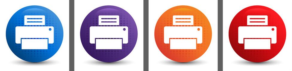 Printer icon abstract halftone round button set