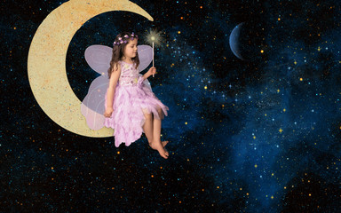 Fantasy little girl fairy sitting on moon creating nebula with magic wand, elements of this image furnished by NASA Fotomurales