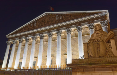 The French national Assembly-Bourbon palace at night , Paris, France