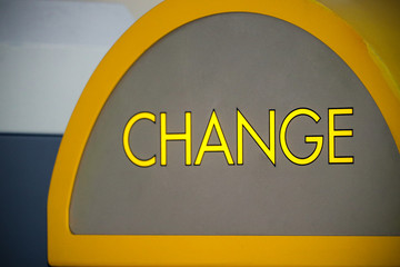 Arcade change machine sign