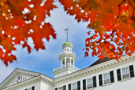 The Dartmouth Hall on campus of Dartmouth College. Dartmouth College is a private Ivy League research university in Hanover, New Hampshire
